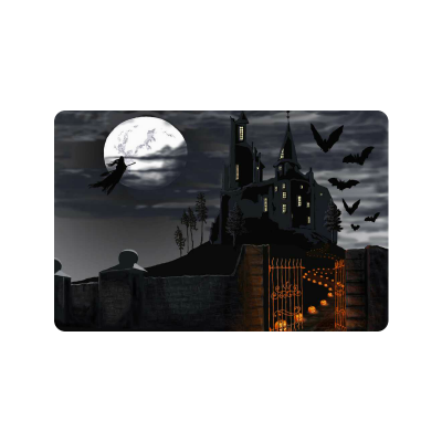 InterestPrint Halloween Witch Anti-slip Door Mat Home Decor, Haunted Catle Indoor Outdoor Entrance Doormat Rubber Backing