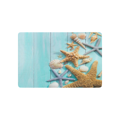 InterestPrint Blue Wooden Anti-slip Door Mat Home Decor, Starfish Seashells Indoor Outdoor Entrance Doormat Rubber Backing