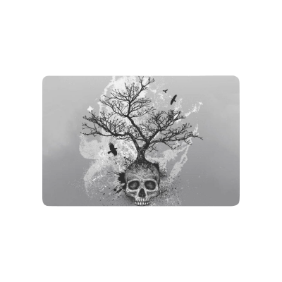 InterestPrint Creative Skull Tree of Life Anti-slip Door Mat Home Decor, Black and white Indoor Outdoor Entrance Doormat Rubber Backing