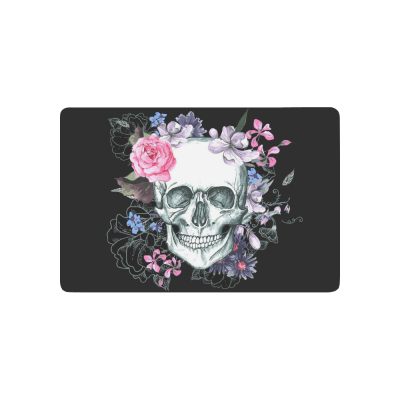 InterestPrint Day of the Dead Anti-slip Door Mat Home Decor, Sugar Skull with Pink Flower Indoor Outdoor Entrance Doormat Rubber Backing