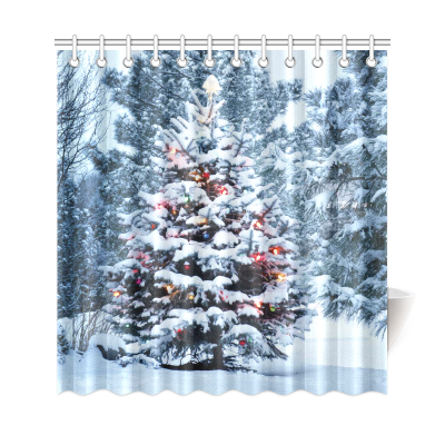 InterestPrint Snow Covered Christmas Tree Brightly Home Decor, Winter Snowy Scenery Polyester Fabric Shower Curtain Bathroom Sets with Hooks
