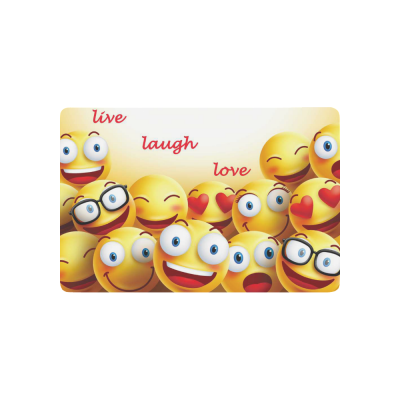 InterestPrint Smiley Faces Anti-slip Door Mat Home Decor, Yellow Cute Emoji Indoor Outdoor Entrance Doormat Rubber Backing