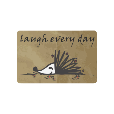 InterestPrint Funny Hedgehog Anti-slip Door Mat Home Decor, Laugh Every Day Quote Indoor Outdoor Entrance Doormat Rubber Backing