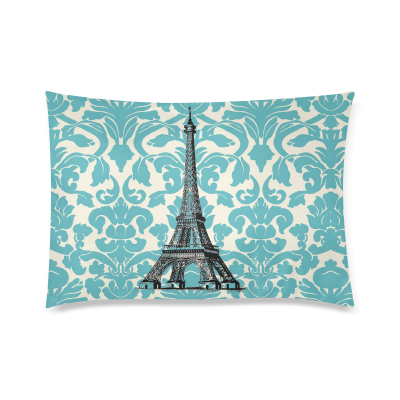 InterestPrint Teal Turquoise Damask Vintage French Floral Swirls With Paris Eiffel Tower Zippered Pillow Case Decor Pillow Covers Soft Rectangle Pillowcase 20 x 30  Inch Twin Sides