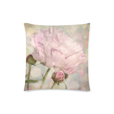 InterestPrint The New Arrive 2015 Nature Peony Flower Bud Pink Shabby Chic Pillow Cases - 18x18