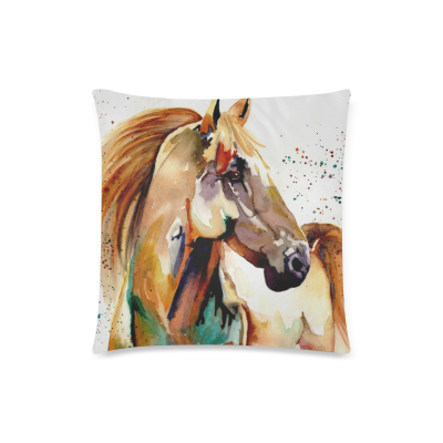 InterestPrint Watercolor Horse Art Zippered Pillow Case Cover Pillowcase Decor Cushion Covers Square 18*18 Inch Twin Sides