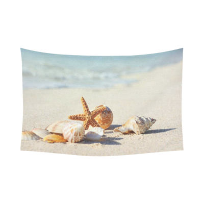 InterestPrint Ocean Theme Sea Life Wall Art Home Decor, Summer Starfish and Seashell on the Sandy Beach Cotton Linen Tapestry Wall Hanging Art Sets