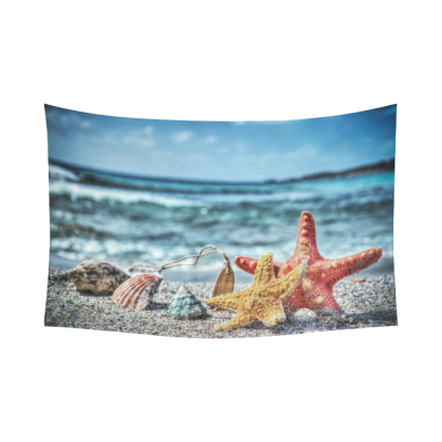 InterestPrint Summer Concept Sandy Beach Wall Art the Picture for Home Decoration, Starfish and Shells by the Shore Seascape  Cotton Linen Tapestry Wall Hanging Art Sets
