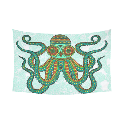 InterestPrint Underwater World Wall Art Home Decor, Octopus Mint Green Cotton Linen Tapestry Wall Hanging Art Sets