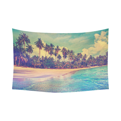 InterestPrint Tropical Palm Trees Decor Collection for Home, Ocean Artwork in Paradise nature Cotton Linen Tapestry Wall Hanging Art Sets