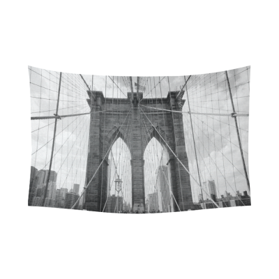 InterestPrint New York City Wall Art Home Decor, Brooklyn Bridge Black and White Cotton Linen Tapestry Wall Hanging Art Sets