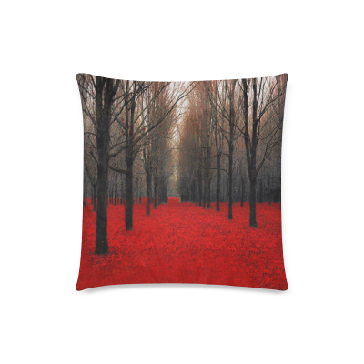 InterestPrint Red Maple Forest Rustic Red Nature Art Throw Pillow Case Cushion Covers Square 18x18 Inch