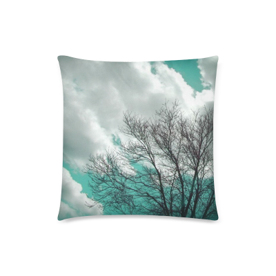 InterestPrint Tree Nature Landscape Sky Clouds Winter Aqua Blue Throw Pillow Case Cushion Covers Square 18x18 Inch