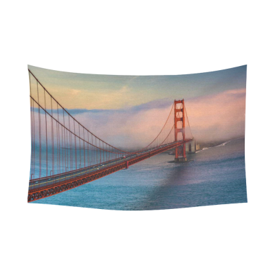 InterestPrint City Landscape Tapestries Wall Art Home Decor, Sunset View of the Golden Gate Bridge and Fog Cotton Linen Tapestry Wall Hanging Art Sets