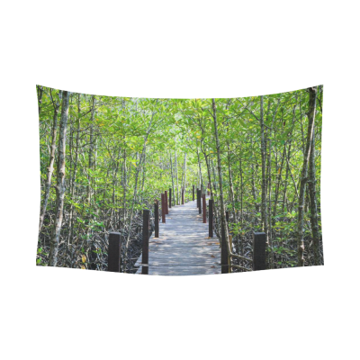 InterestPrint Tropical Nature Wall Art Home Decor, Walkway with Wooden Bridge through Mangrove Forest Cotton Linen Tapestry Wall Hanging Art Sets