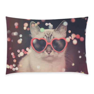 InterestPrint Custom Hipster Sunglasses Polka Dot Cat Sparkles Pillowcase Standard Size 20 x 30 Inches One Side - Cat Wear Red Heart Sunglasses Color Sparkles Pillow Cases Cover Set Shams Decorative