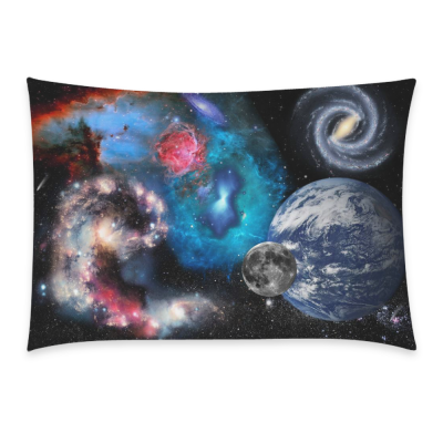 InterestPrint Earth Planet Galaxy Universe Outer Space Nebula Pillowcase Standard Size 20 x 30 Inches One Side - Colorful Cosmos Landscape Stars Solar System Pillow Cases Cover Set Shams Decorative