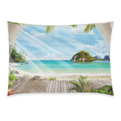 InterestPrint Custom Tropical Beach Paradise Summer Palm Tree Pillowcase Standard Size 20 x 30 Inches One Side - Tropical Beach Palm Blue Sky Sea Ocean Pillow Cases Cover Set Pet Shams Decorative