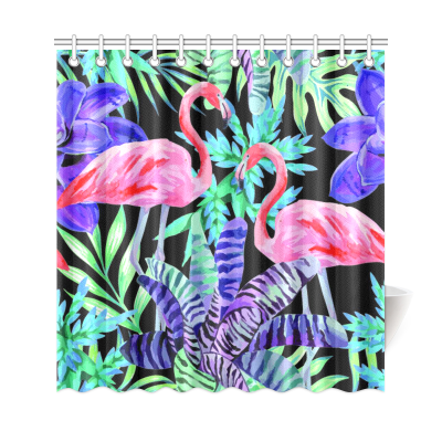 InterestPrint Watercolor Flamingo Home Decor, Nature Life Animal Bird Pink  Polyester Fabric Shower Curtain Bathroom Sets