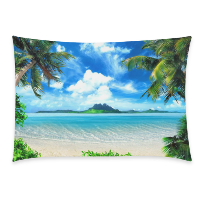 InterestPrint Tropical Beach Coast Palm Tree Sea Pillowcase Standard Size 20 x 30 Inches One Side - Tropical Beach Island Green and The Sky with Cloud Pillow Cases Cover Set Pet Shams Decorative