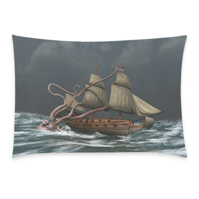 InterestPrint Home Bathroom Decor Ocean Octopus Ship Pillowcases Decorative Pillow Cover Case Shams Standard Size for Couch Bed-Grey Colorful-20x30 Inch-Giant Octopus Attack Sail Ship