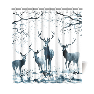 InterestPrint Black and White Wildlife Animal Home Decor, Christmas Gift Reindeer Polyester Fabric Shower Curtain Bathroom Sets
