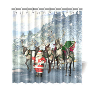 InterestPrint Christmas Santa Claus Reindeer Home Decor Polyester Fabric Shower Curtain Bathroom Sets
