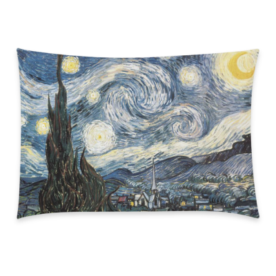 InterestPrint Dr Doctor Who Vincent Van Gogh Starry Night Pillowcase Standard Size 20 x 30 Inches - Tardis Police Box Starry Night Oil Canvas Pillow Case Cover Set Pet Shams Decorative
