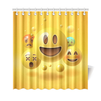 InterestPrint Happy Smile Emoji Home Decor Polyester Fabric Shower Curtain Bathroom Sets