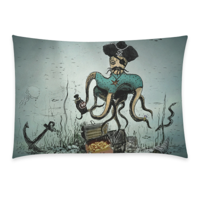 InterestPrint Ocean Kraken Octopus Vintage Skull Anchor Watercolor Pillowcase for Couch Bed 20 x 30 Inches - Illustration with Ink Draw and Painted Pillow Cover Shams Decorative