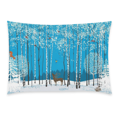 InterestPrint Magic Winter Forest Birch Tree with Lovely Bird Deer Squirrel Fox Home Decor, Snow Tree of Life Pillowcase 20 x 30 Inches - Nature Art Soft Pillow Cover Case Shams Decorative