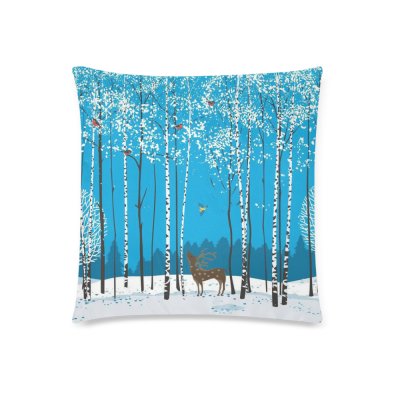 InterestPrint Winter White Birch Tree Animal Deer Bird Cushion Pillowcase for Couch Bed 18 x 18 Inches - Snow Ice Custom Soft Pillow Cover Case Shams Decorative