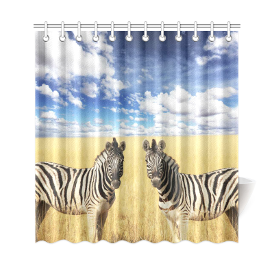 InterestPrint Wildlife Animal Zebras Home Decor, African Safari Landscape Polyester Fabric Shower Curtain Bathroom Sets with Hooks