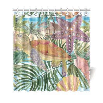 InterestPrint Sea Turtle Seashell Starfish Home Decor, Tropical Palm Tree Leaves Polyester Fabric Shower Curtain Bathroom Sets with Hooks