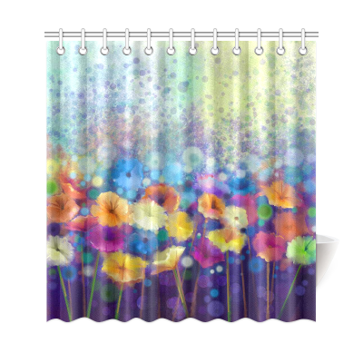 InterestPrint Watercolor Purple Flowers Home Decor, Romantic Poppies Polyester Fabric Shower Curtain Bathroom Sets with Hooks
