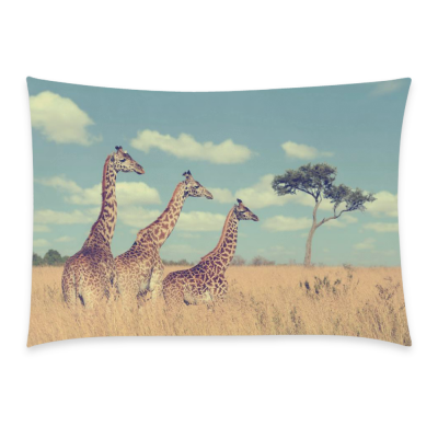 InterestPrint Animal Cute Giraffe Home Decor, Baby Group Giraffes Pillowcase 20 x 30 Inches - Custom Vitality Giraffe Soft Pillow Cover Case Shams Decorative