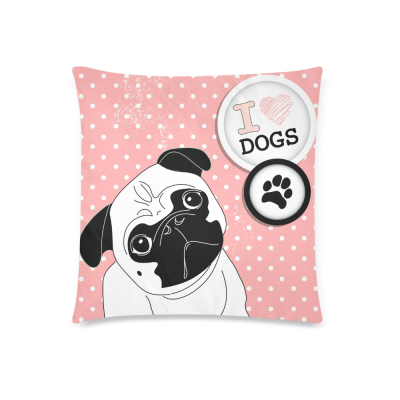 InterestPrint Puppy Pug Dog Home Decor, Cute Little Pug on Polka Dot Pillowcase 18 x 18 Inches - I Love Pugs Pillow Cover Case Shams Decorative