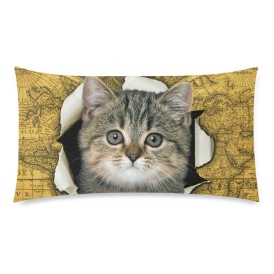 InterestPrint Lovely Cat Yellow Vintage World Map Pillowcase Standard Size 20 x 36 Inches One Side for Couch Bed - A Funny Cat Climb out of Vintage World Map Pillow Cases Cover Set Shams Decorative