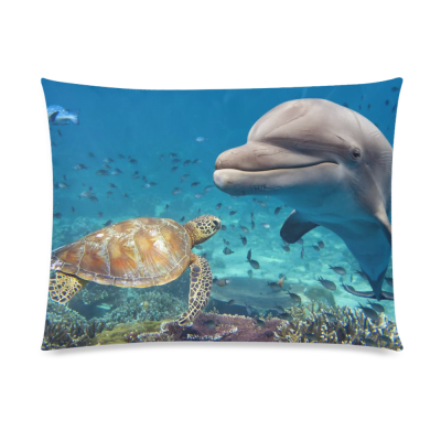 InterestPrint Sea Turtle Home Decor, Ocean Fish Doplin Pillowcase 20 x 26 Inches one side - Sea Pillow Cover Case Shams Decorative
