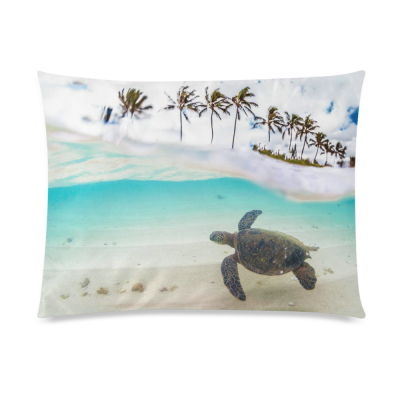 InterestPrint Sea Turtle Home Decor, Ocean Beach Palm Tree Pillowcase 20 x 26 Inches one side - Beautiful Landscape Pillow Cover Case Shams Decorative