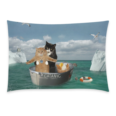 InterestPrint Funny Cat Home Decor, Brave Cats on A Ship among the Icebergs Pillowcase 20 x 30 Inches One Side - Ocean Pillow Cover Case Shams Decorative