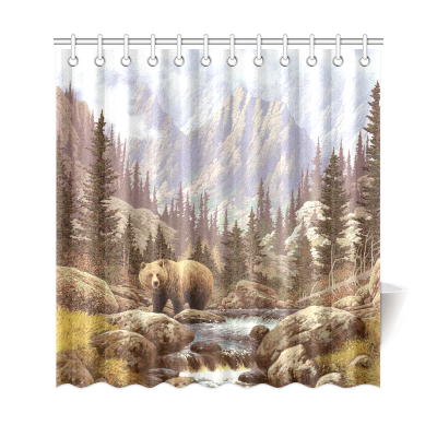 InterestPrint Home Decor Grizzly Bear in the Rocky Mountains Polyester Fabric Shower Curtain Bathroom Sets with Hooks
