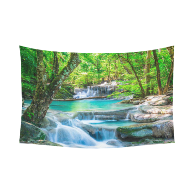 InterestPrint Green Forest River Stream Waterfall Tapestry Wall Hanging Spring Landscape Wall Decor Art for Living Room Bedroom Dorm Cotton Linen Decoration
