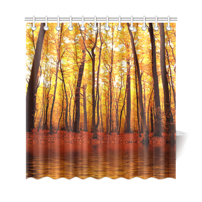 InterestPrint Autumn Forest Lake Home Decor, Birch Trees Polyester Fabric Shower Curtain Bathroom Sets with Hooks