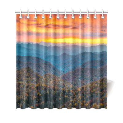 InterestPrint North Carolina Blue Ridge Parkway Mountains Home Decor, Sunset Scene Polyester Fabric Shower Curtain Bathroom Sets with Hookss