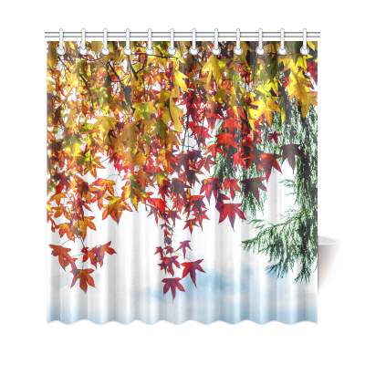 InterestPrint Autumn Prime Trees Home Decor, Red and Yellow Maple Leaves Polyester Fabric Shower Curtain Bathroom Sets with Hooks