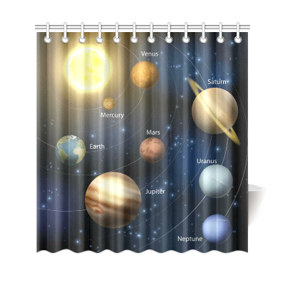 InterestPrint Planetary Orbit Home Decor, Educational  Solar System Planets Polyester Fabric Shower Curtain Bathroom Sets with Hooks