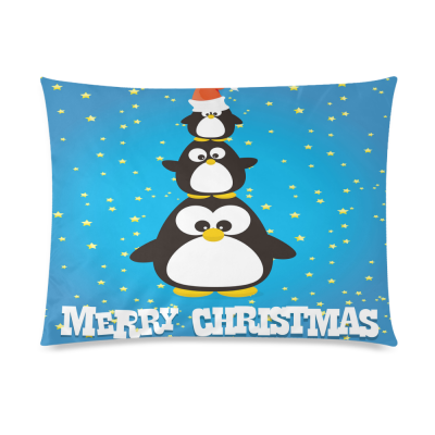 InterestPrint Happy Merry Christmas Funny Penguin Home Decor Pillowcase 20 x 26 Inches - Winter Glitter Star Blue Pillow Cover Case Shams Decorative