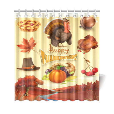 InterestPrint Thanksgiving Theme Harvest Cornucopia Home Decor Polyester Fabric Shower Curtain Bathroom Sets with Hooks