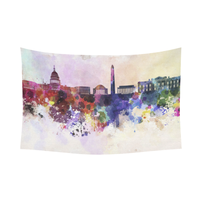InterestPrint Washington DC Cityscape in Watercolor Tapestry Horizontal Wall Hanging Washington DC Skyline Wall Decor Art for Living Room Bedroom Dorm Cotton Linen Decoration